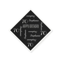 Black & White 70th Birthday Party Repeating Names Napkin