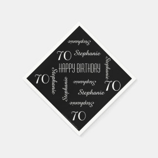 Black & White 70th Birthday Party Repeating Names Napkin