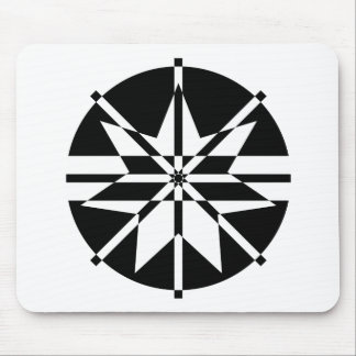 Black & White 7 Point Star T-Shirt Mouse Pad