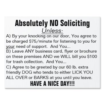 Professional Business Black White Absolutely No Soliciting Sign