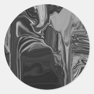 Black & White Abstract Art Classic Round Sticker