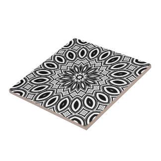 Black & White Abstract Art Medallion Ceramic Tile