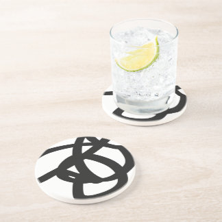 Black & White Abstract Art Sandstone Drink Coaster