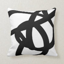 Black & White Abstract Art Throw Pillow