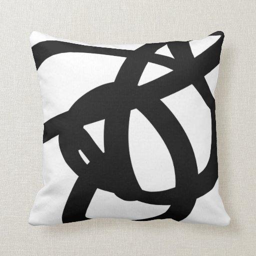 Black & White Abstract Art Throw Pillow