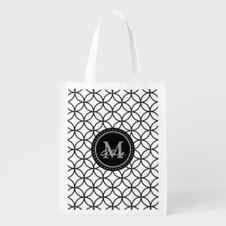 Black White Abstract Circles and Diamonds Pattern Grocery Bag