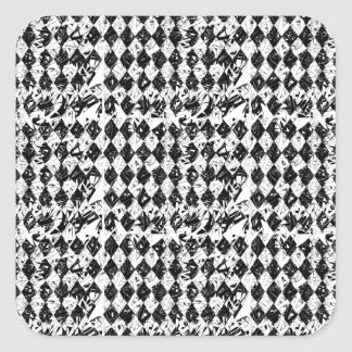 Black & White Abstract Diamonds Square Sticker