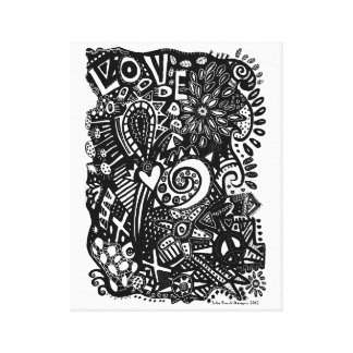 Black & White Abstract Doodle No 1 Canvas Print