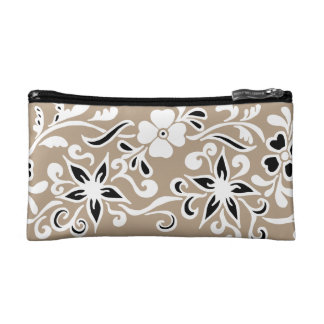Black & white abstract flower drawing on brown makeup bag