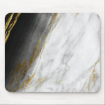 "Black White Abstract Gray Carrara Gold Marble Mouse Pad<br><div class=""desc"">Modern Abstract Contemporary Design 