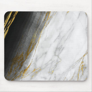 Black White Abstract Gray Carrara Gold Marble Mouse Pad