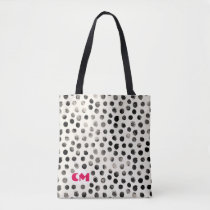 Black White Abstract Ink Dots Customize Monogram Tote Bag