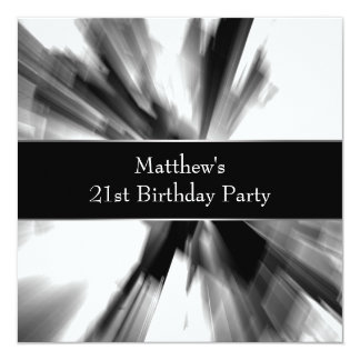 Black White Abstract Mans 21st Birthday 5.25x5.25 Square Paper Invitation Card