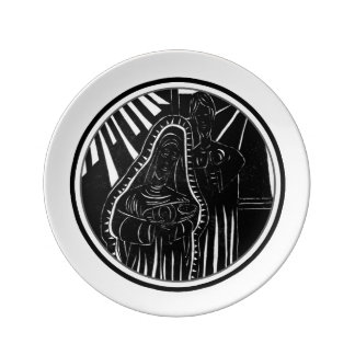 Black White Abstract Nativity Religious Christmas Plate