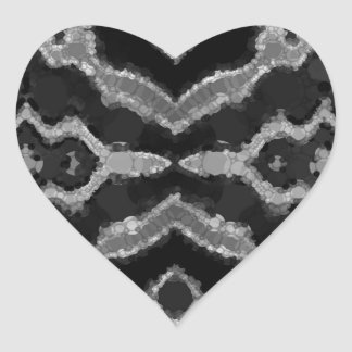 Black&White Abstract Overprint Heart Sticker