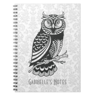 Black & White Abstract Owl Notebook