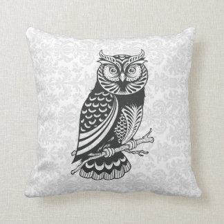 Black & White Abstract Owl Throw Pillow