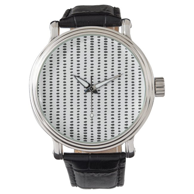 Black & White Abstract Pattern Men's Watch