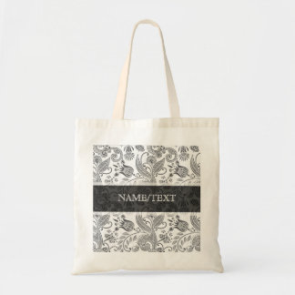 Black & White Abstract Retro Floral Swirls Pattern Tote Bag