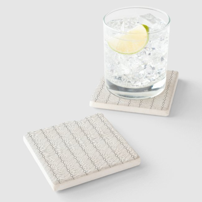 Black & White Abstract Retro Limestone Coaster
