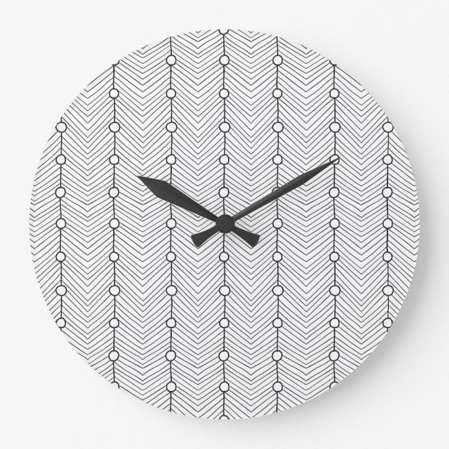 Black & White Abstract Retro Pattern Wall Clock