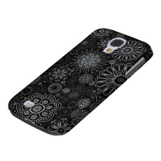 Black & White Abstract Snowflake Variety Pattern Samsung S4 Case