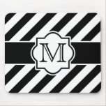 Black White Abstract Striped Pattern with Monogram Mouse Pad