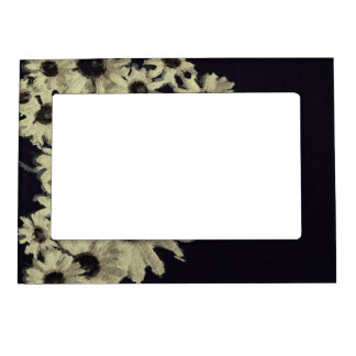 Black&White Abstract Sunflowers Magnetic Picture Frame