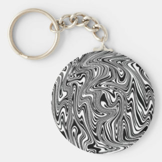 Black & White Abstract Swirl Basic Round Button Keychain