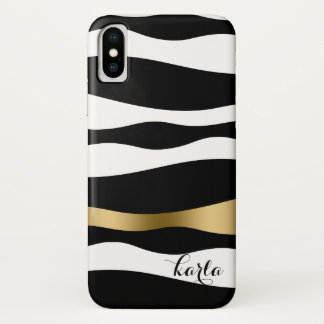 Black & White Abstract Zebra Stripes iPhone X Case