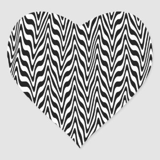 Black & White Abstract Zigzag Heart Sticker