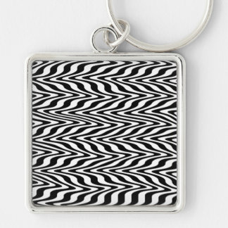Black & White Abstract Zigzag Silver-Colored Square Keychain