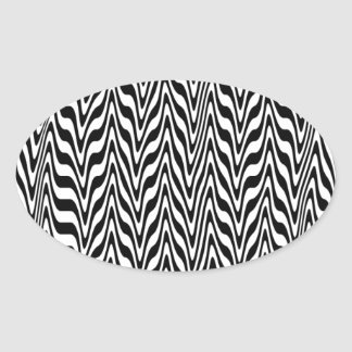Black & White Abstract Zigzag Oval Sticker