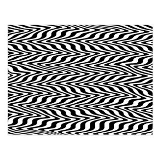 Black & White Abstract Zigzag Postcard