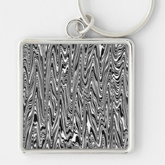 Black & White Abstract Zigzag Swirl Silver-Colored Square Keychain