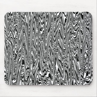 Black & White Abstract Zigzag Swirl Mouse Pad