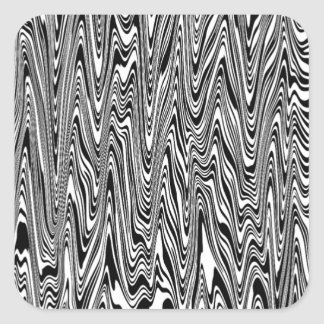 Black & White Abstract Zigzag Swirl Square Sticker