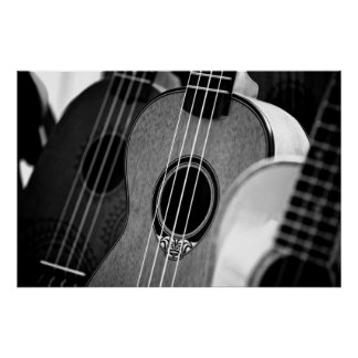 Black White Acoustic Classical Spanish Guitar Poster