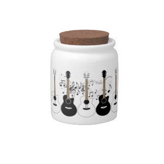 Black & White Acoustic Guitars & Musical Notes Candy Dish