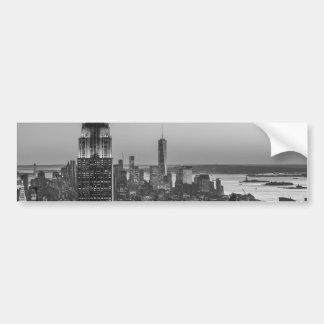 Black & White Aerial View of New York City Night Bumper Sticker