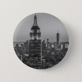 Black & White Aerial View of New York City Night Button