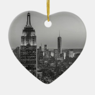 Black & White Aerial View of New York City Night Ceramic Ornament