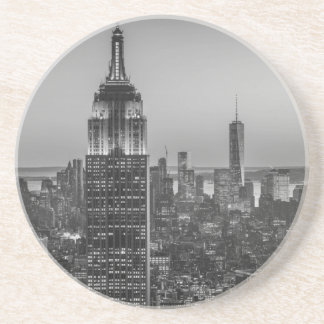 Black & White Aerial View of New York City Night Drink Coaster