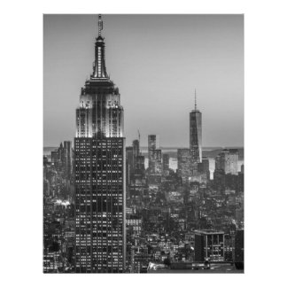 Black & White Aerial View of New York City Night Letterhead