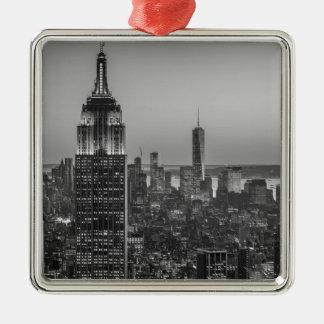 Black & White Aerial View of New York City Night Metal Ornament
