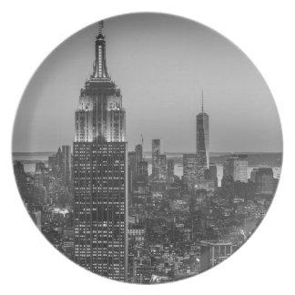 Black & White Aerial View of New York City Night Plate