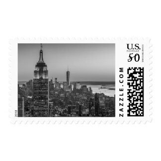 Black & White Aerial View of New York City Night Postage