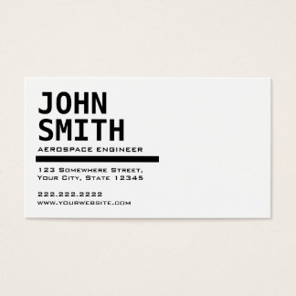 Black & White Aerospace Engineer Business Card