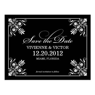 BLACK & WHITE AFFAIR   SAVE THE DATE ANNOUNCEMENT POST CARDS