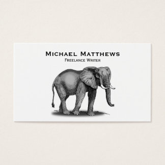 Black White African Elephant Personalized Business Card